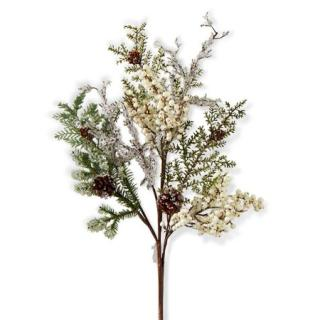 32 Inch White Berry and Mixed Pine Stem
