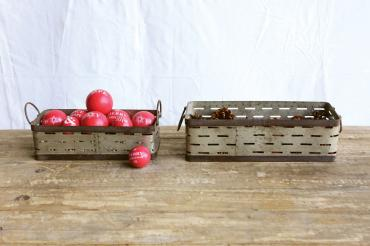 Set of Two Rustic Metal Trays