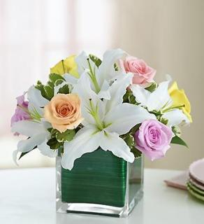 Pastel Rose and White Lily Cube Bouquet