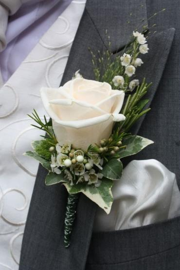 White Rose and Wax Boutonniere