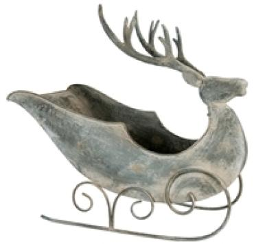 Large Metal Gray Deer Sleigh