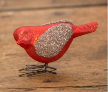 Red Bird With Glitter Wings