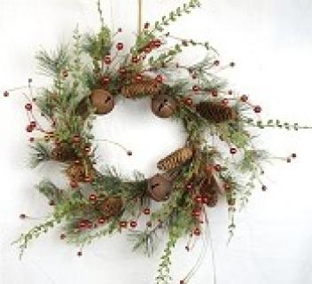 22in Vintage Red Berry and Pine Wreath