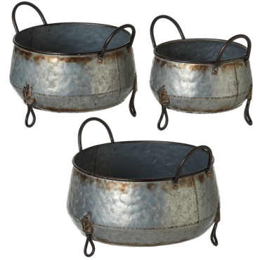 Large Galvanized Planter w/ Leaf Accent