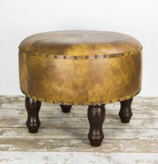 Faux Leather Foot Stool- Blonde
