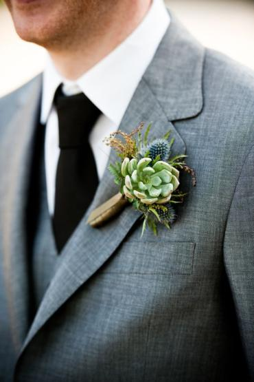 Succulent and Thistle Boutonierre