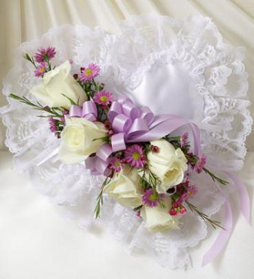 Lavender and White Satin Heart Casket Pillo