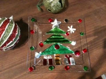 Square Glass Tree Plate