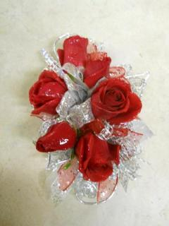 Red Rose with Silver Corsage