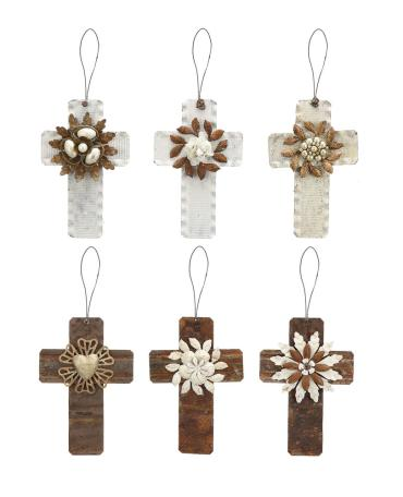 "6""H Tin Cross Ornament"