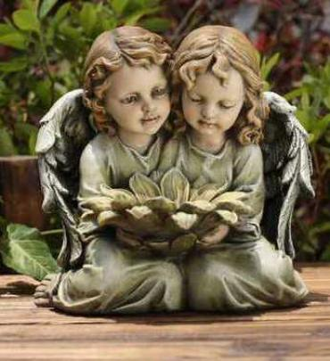 Twin Angels with Flowers