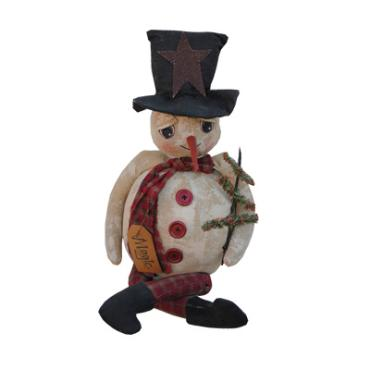 Magic snowman holding a feather tree
