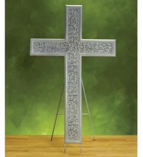 White Sympathy Cross with Easel
