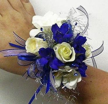 Blue Delphinium and Rose Corsage