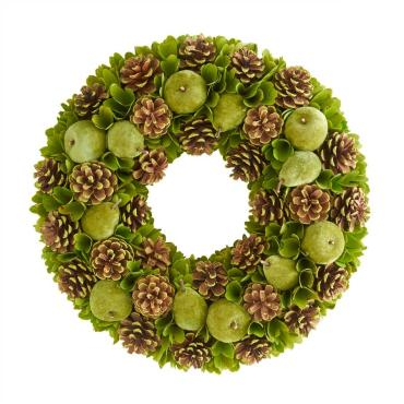 18 lnch Green Apple & Pinecone Wreath