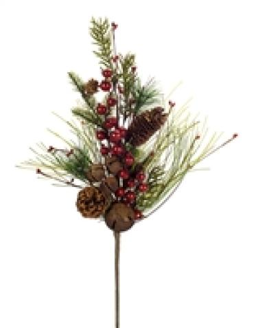 Pine and Berry Spray with Bells