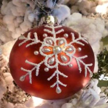 "Glass Ornament Ball Red w/Flake 3"" 91201"
