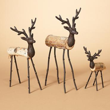 Set of 3 Metal and Wood Deer