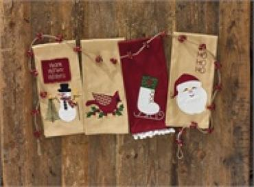 Hohoho Santa Applique Dishtowel
