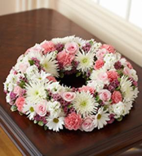 Cremation Wreath-Pink & White