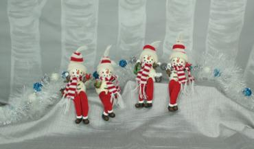 Scarved Red Snowmen with Fabric Legs