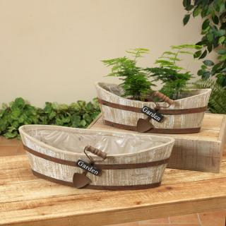 Large Oval Wood Planter