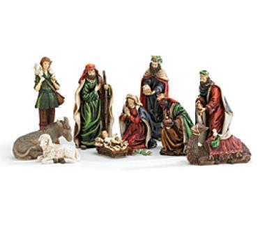 10 Piece nativity scene. Resin. Hand painted.
