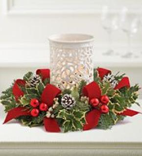 Evergreen Centerpiece with Hurricane Candle