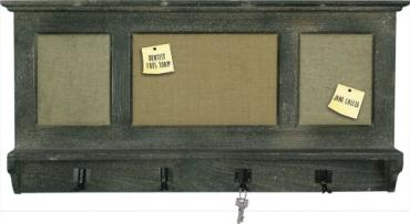 Wooden Shelf Message Boards With Hooks