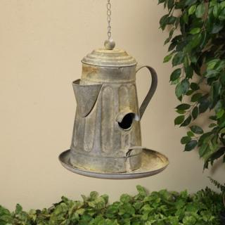 Metal Coffee Pot Birdhouse