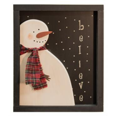 Believe Snowman Window Box