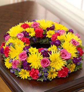 Cremation Wreath-Multicolor Bright