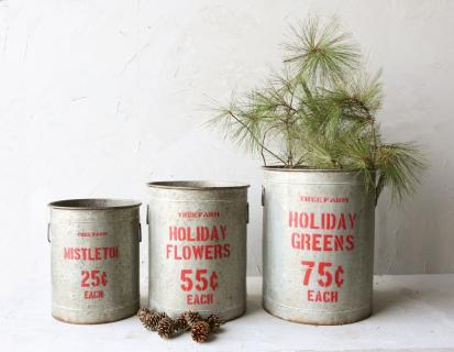 "Large Metal ""Holiday Greens\"" Bucket"