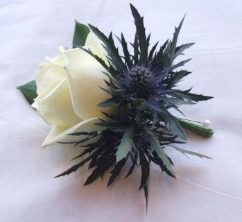 Thistle and Rose Boutonierre