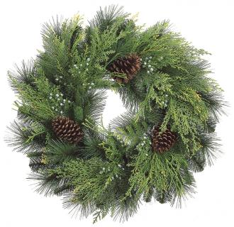 "24"" Cone/Berry/Cedar Wreath"