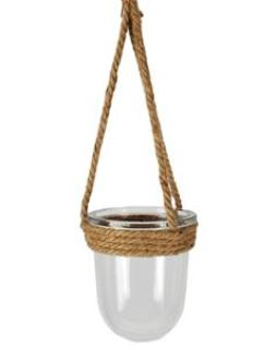 Medium Round Jute Hanging Glass Jar