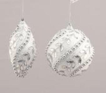 Silver/White Ornament Set of Two