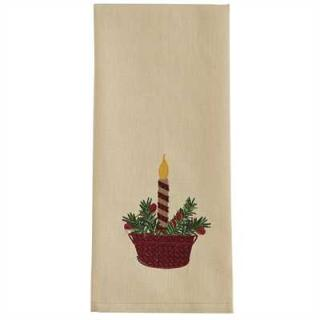 Candle Bucket Embroidered Dishtowel