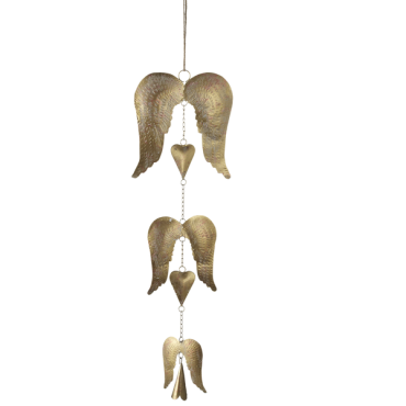 Hanging Angel Wings w/ Bell Wind Chime
