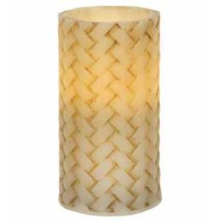 Basketweave Battery Pillar Candle