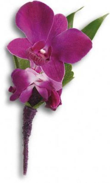 Perfect Purple Orchid Boutonniere