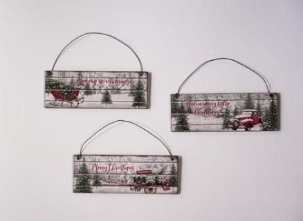 Slatted Plaque Ornaments