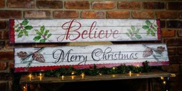XL Christmas Slatted Sign