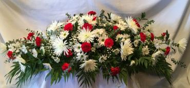 Classic Casket Spray in Red & White