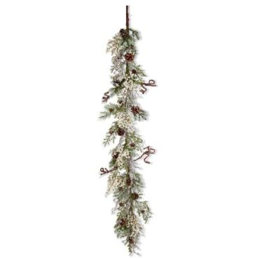 6 Foot White Berry and Mixed Pine Garland