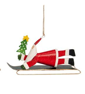 "7"" Santa on Sled with Banner Ornament"