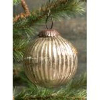 Ribbed Silver Kugel Ornament