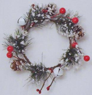 3.5in Snow Dusted Red Berry Candle Ring