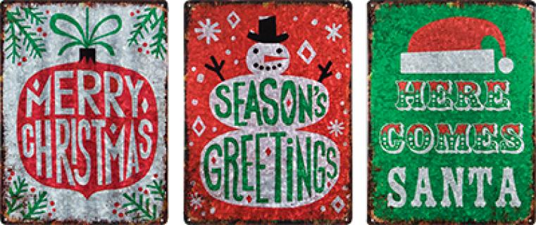 Assorted Shimmery Christmas Signs