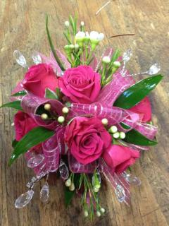 Hot Pink Rose and Wax Corsage
